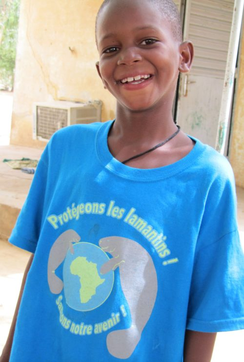 African manatee t0shirts are a great way to promote conservation in villages with little connection to the outside world.