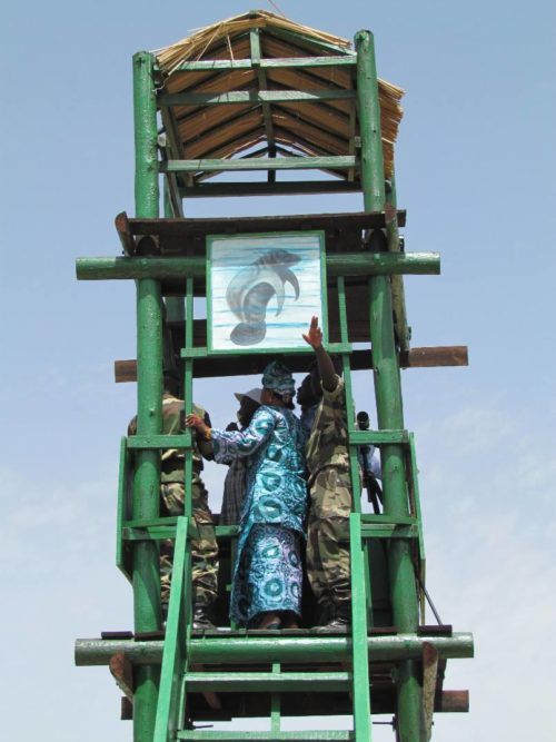 A viewing tower at Tocc Tocc Community Natural Reserve in northern Senegal.